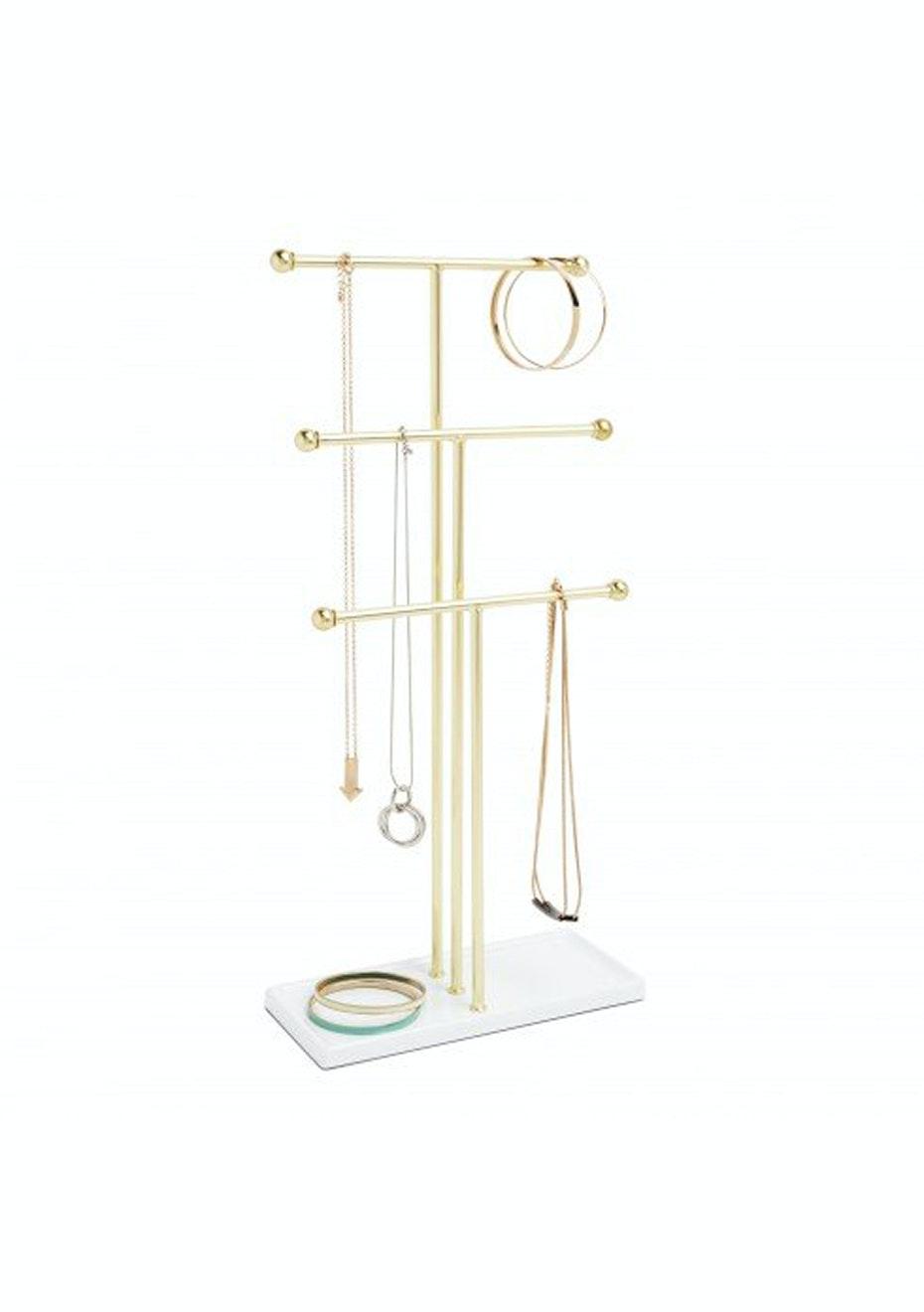Umbra - Trigem Jewelry Tree  - White/Brass