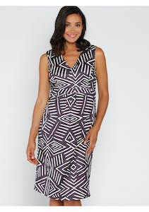 ba7b6b8744 Angel Maternity - Maternity Sleeveless Ponti Party Dress - Grey and White  Print