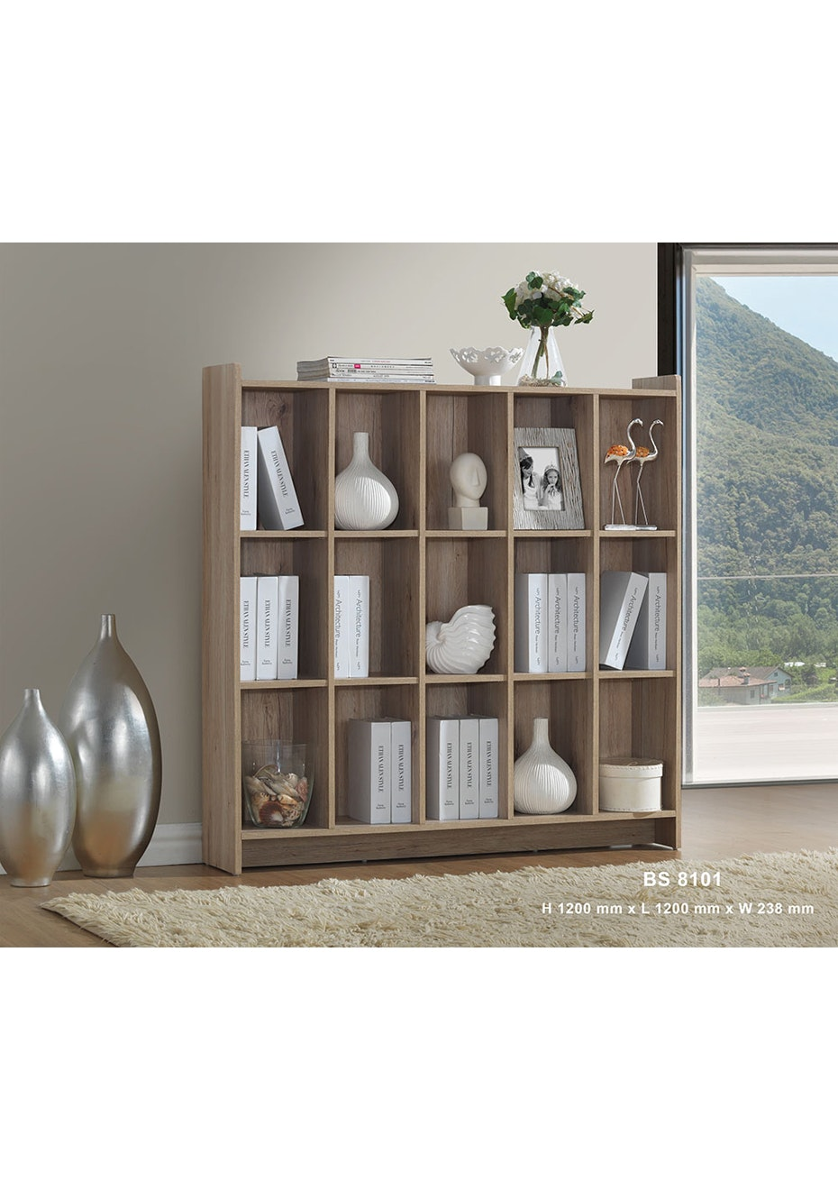 Large Display Cabinet - Washed Wood