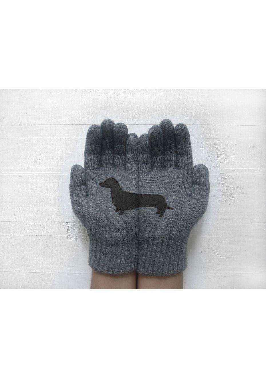 Dachshund Gloves - Grey/Black