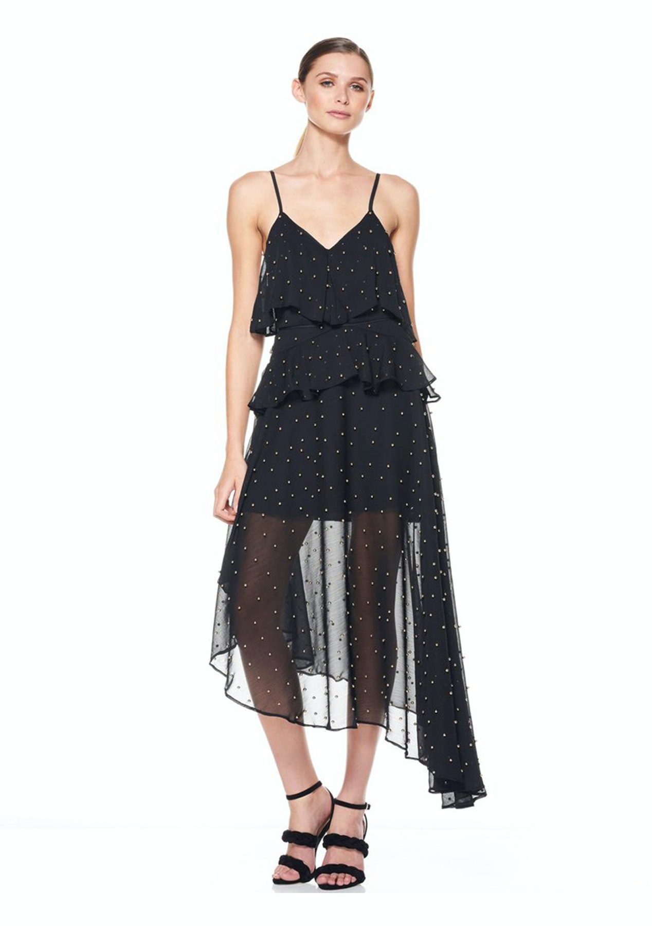 Talulah - Queen Of The Night Midi Dress - Black With Gold Ball Sequin - The  East Order 1c7c6aa21