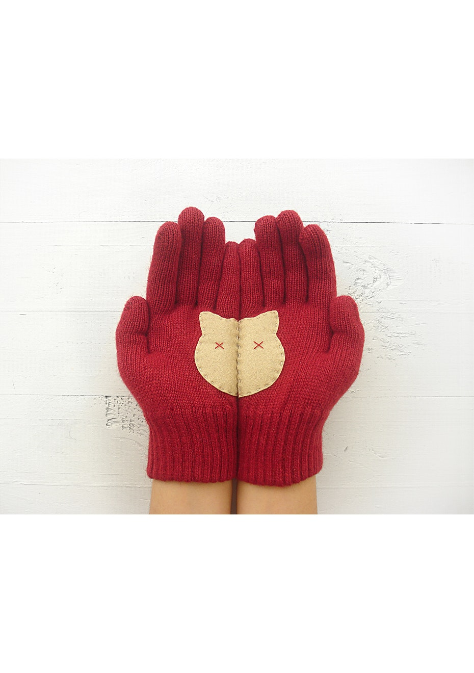 Kitty Gloves - Deep Red