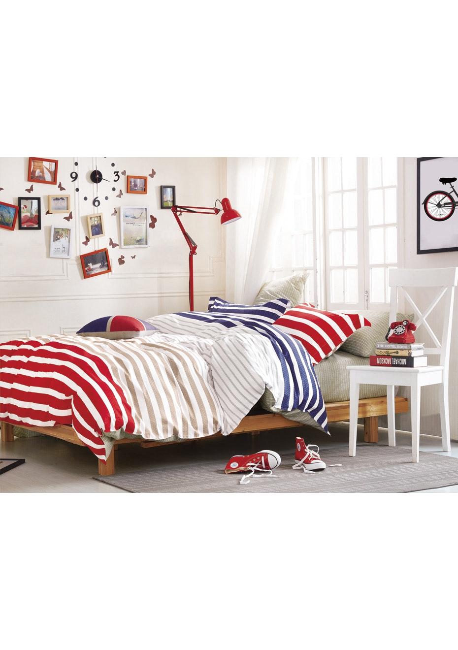 Parker Quilt Cover Set - Reversible Design - 100% Cotton - Double Bed