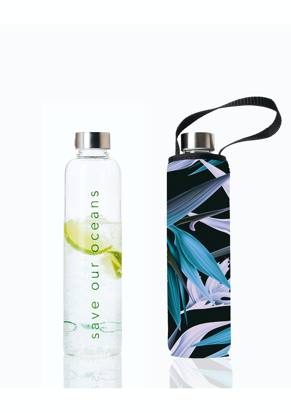 BBBYO - Glass Is Greener Bottle 750 ml + Carry Cover (Paradise Print) -750 ml