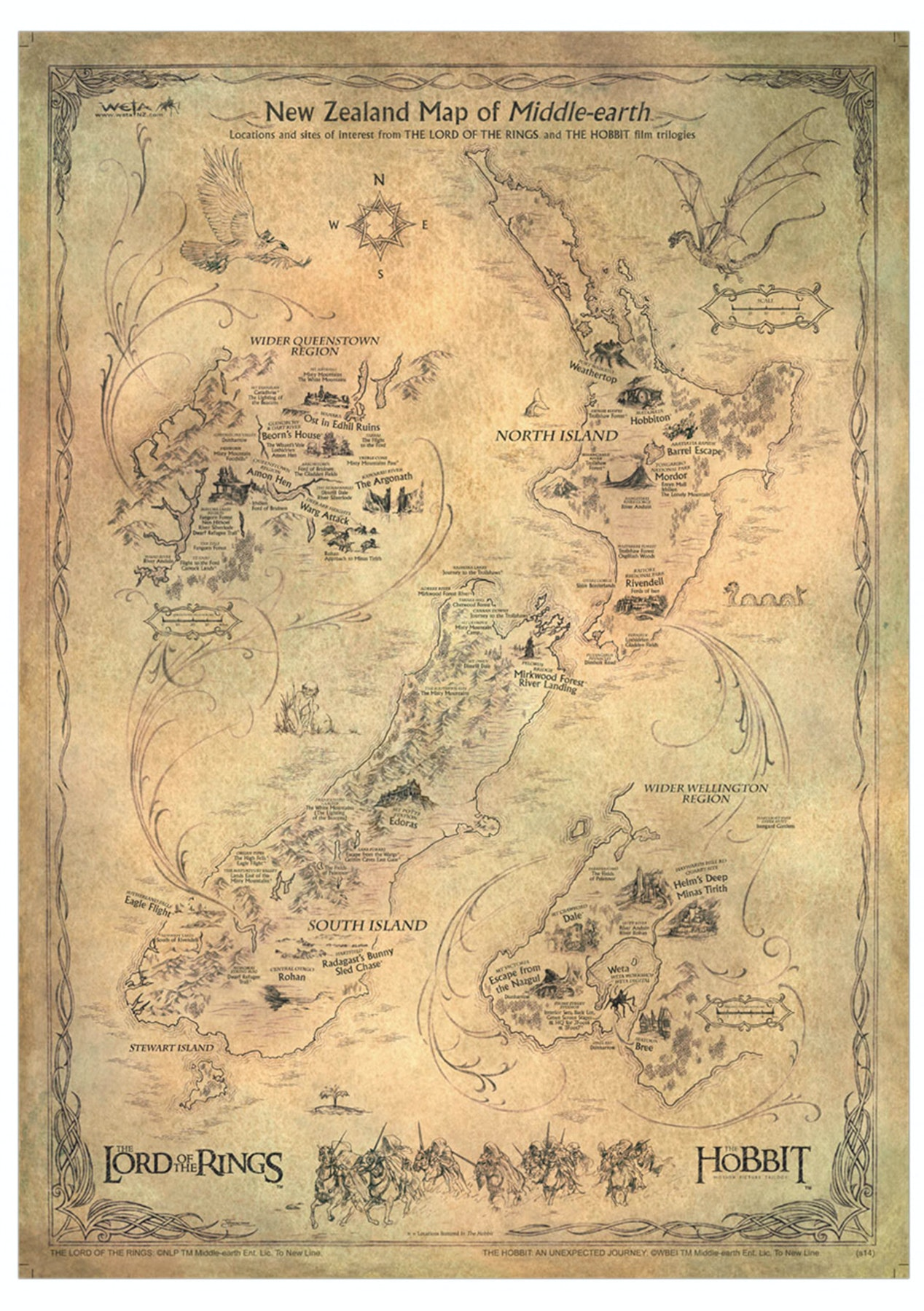 The Hobbit Art Print Nz Map Of Middle Earth Lotr Hobbit Locations