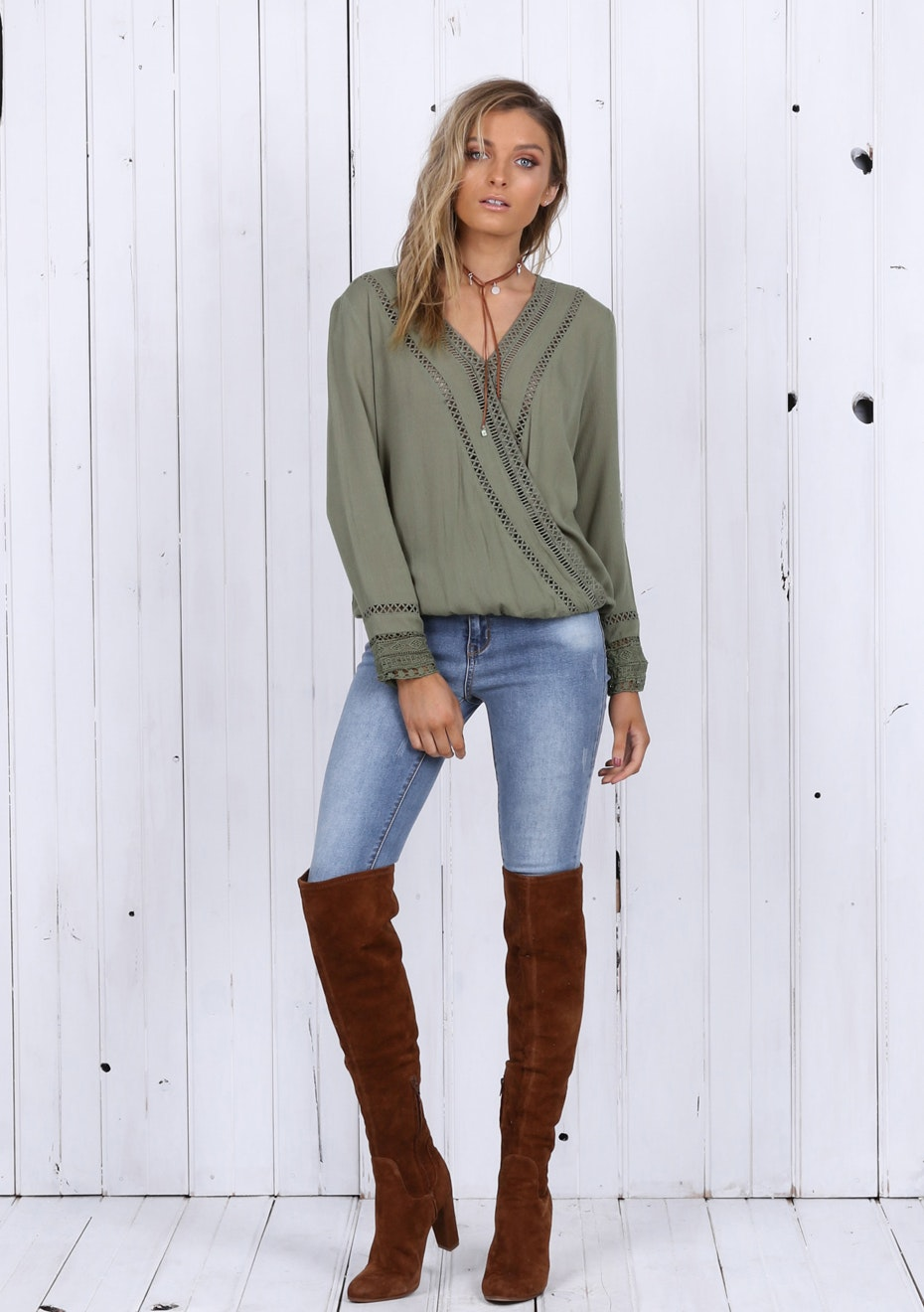 Madison - LUCILLE TOP - KHAKI