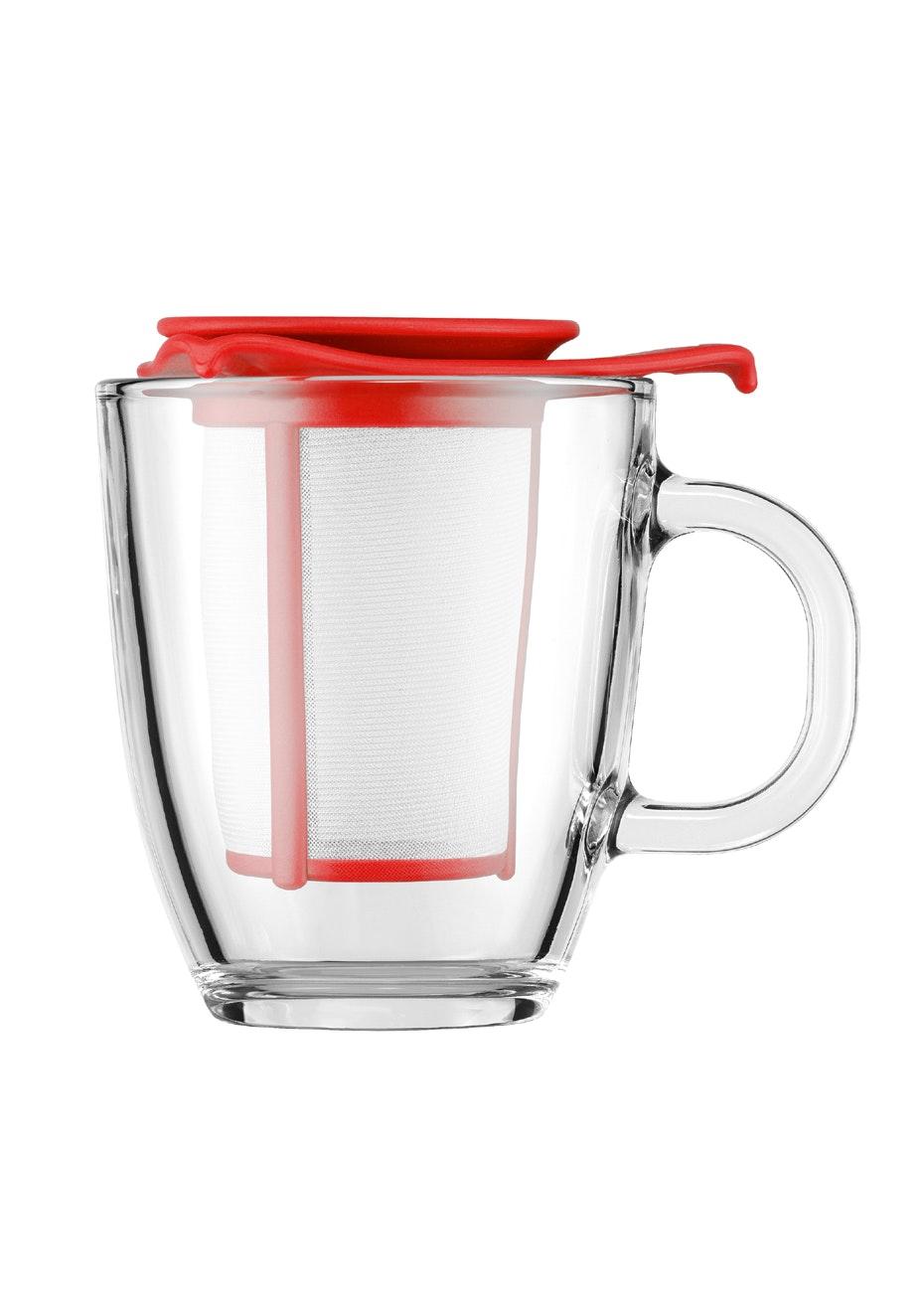 Bodum - Mug And Tea Strainer, 0.35L - Red