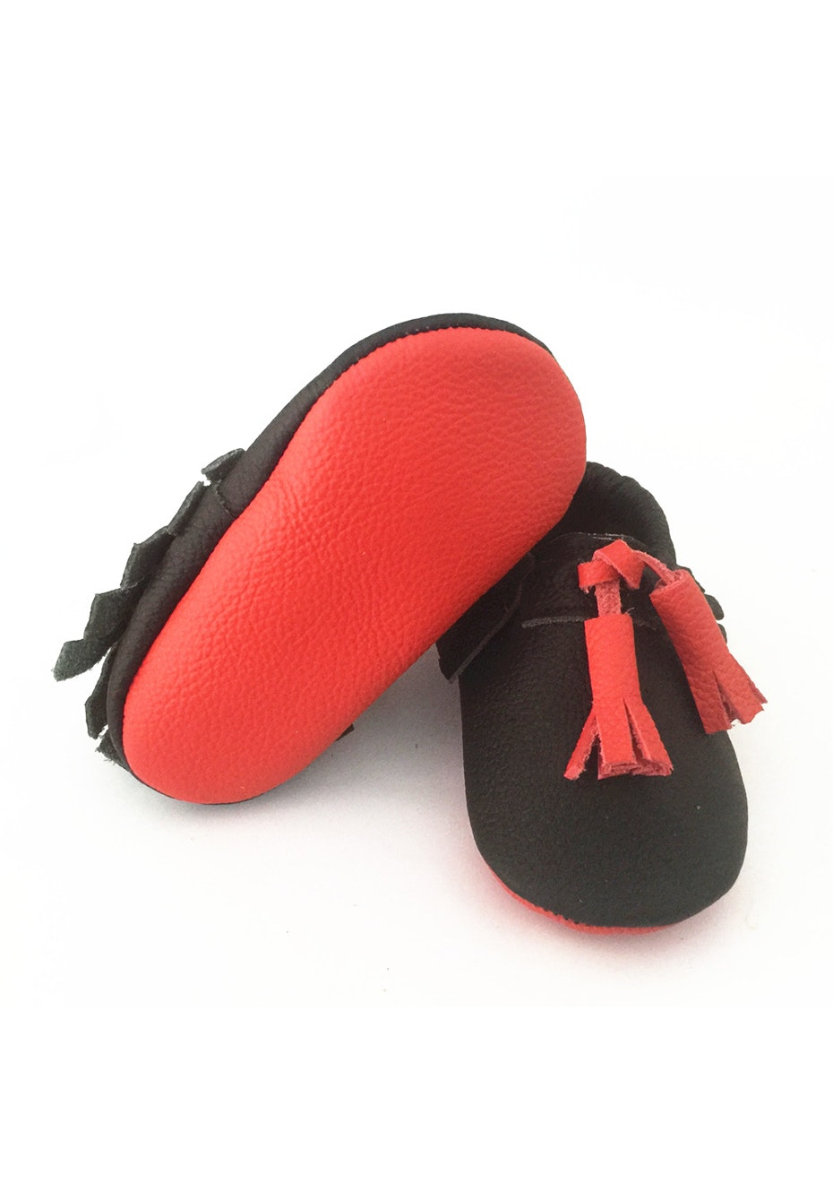 Baby  Leather Shoes - Black / Red