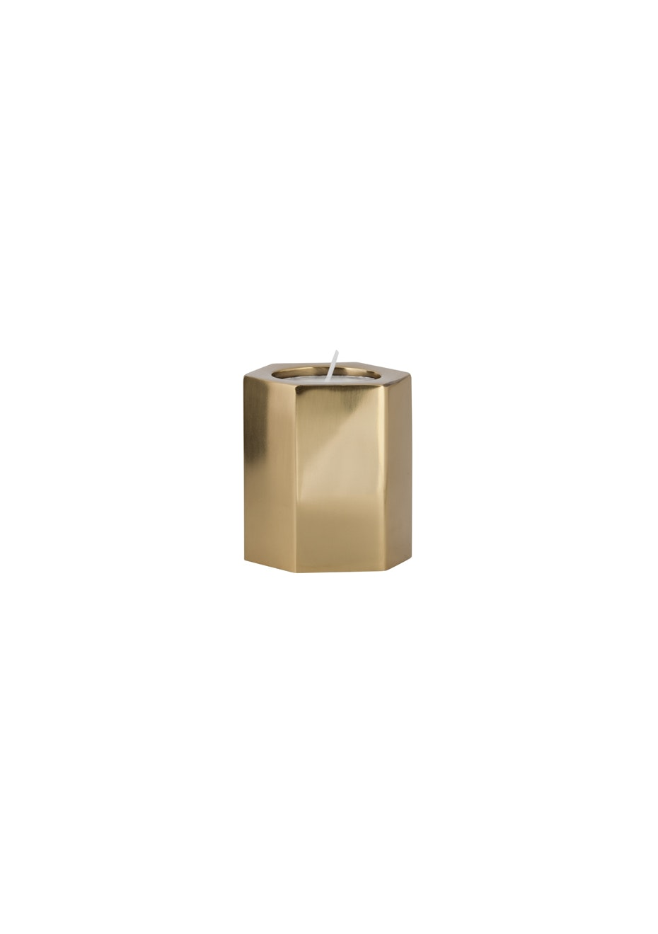 General Eclectic - Hex Tealight Holder Brass Small