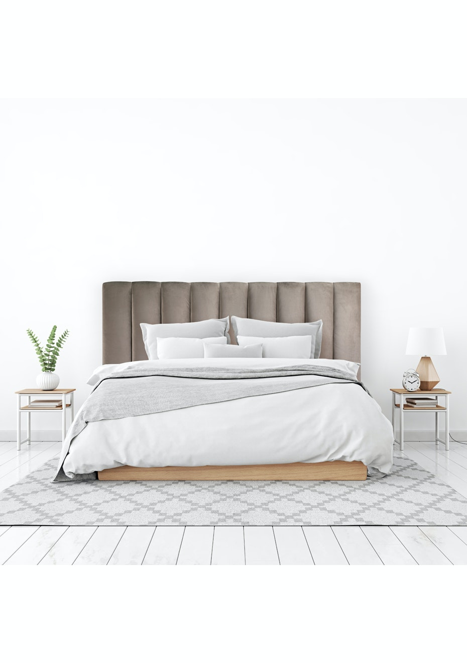 George St Ribbed Velvet Headboard Taupe Super King Headboards From 99 Onceit