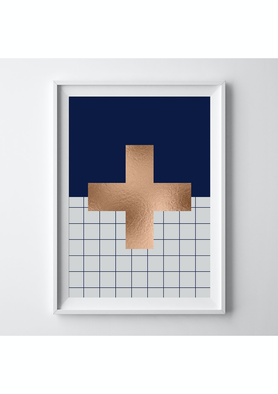 Simply Creative - Navy Cross - A3 Copper Foil Print