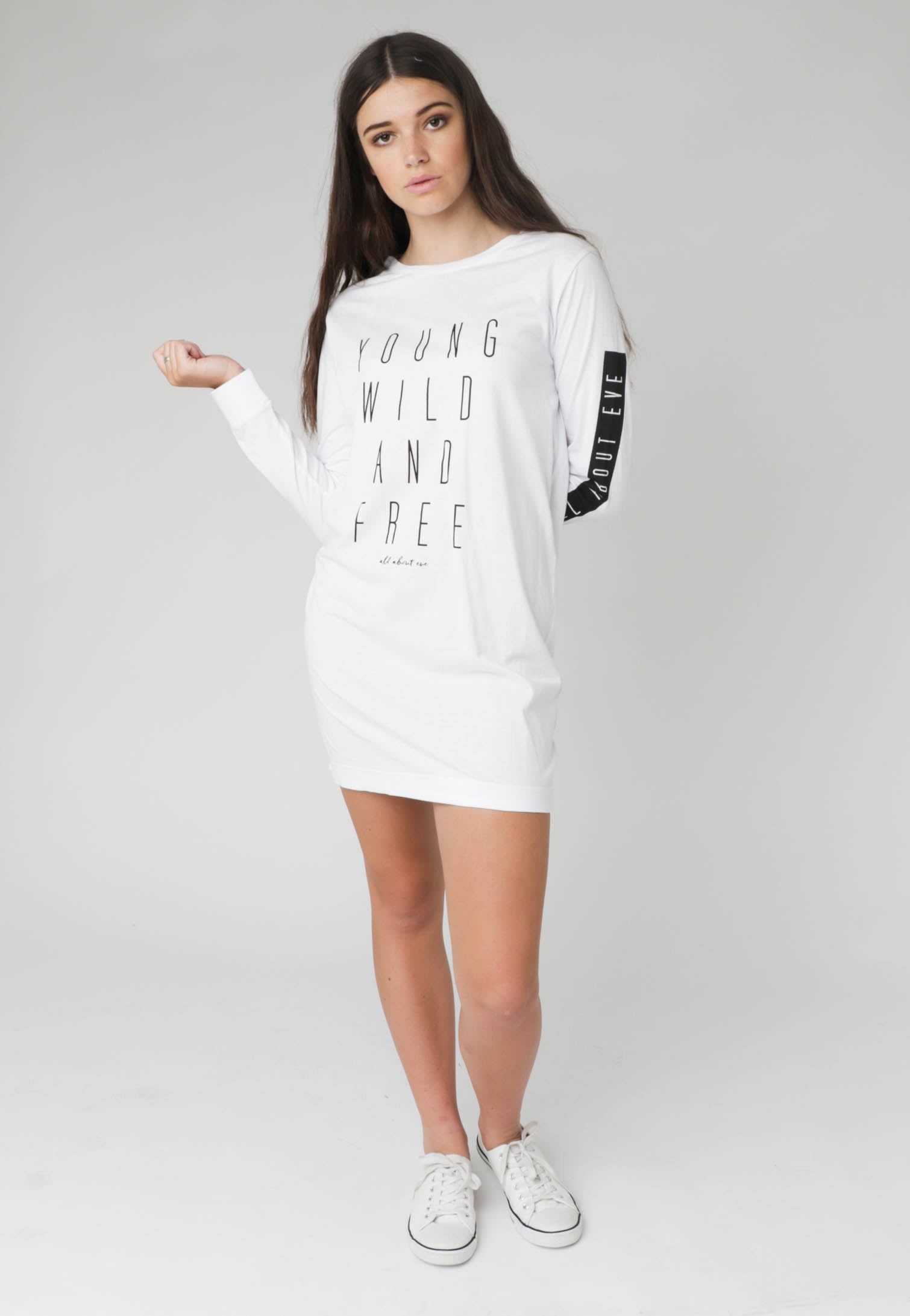 All About Eve - YWF L/S Tee Dress  - White