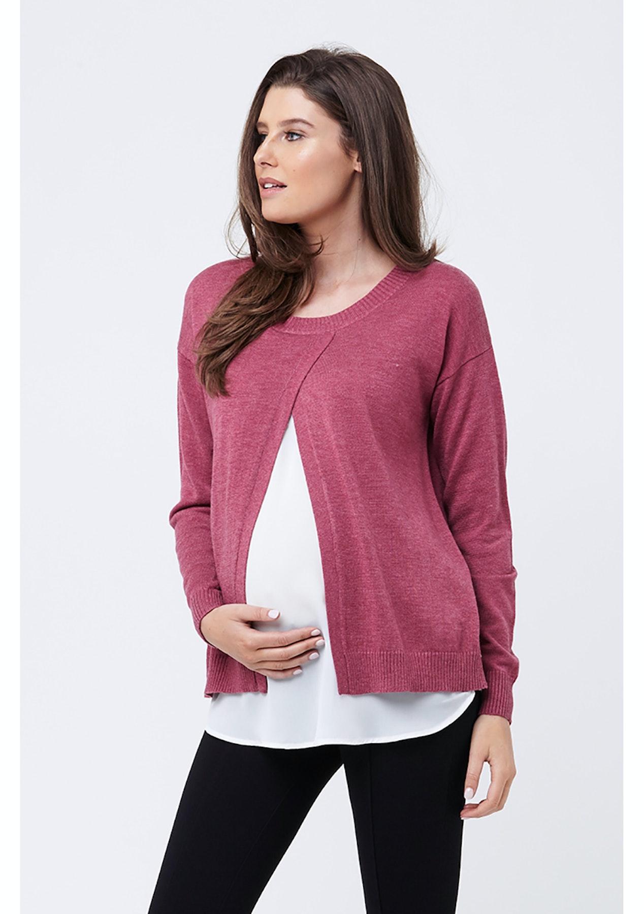 4fd645af47aff Ripe Maternity - Cross Front Nursing Sweater - RoseMilk - Ripe Maternity -  Onceit