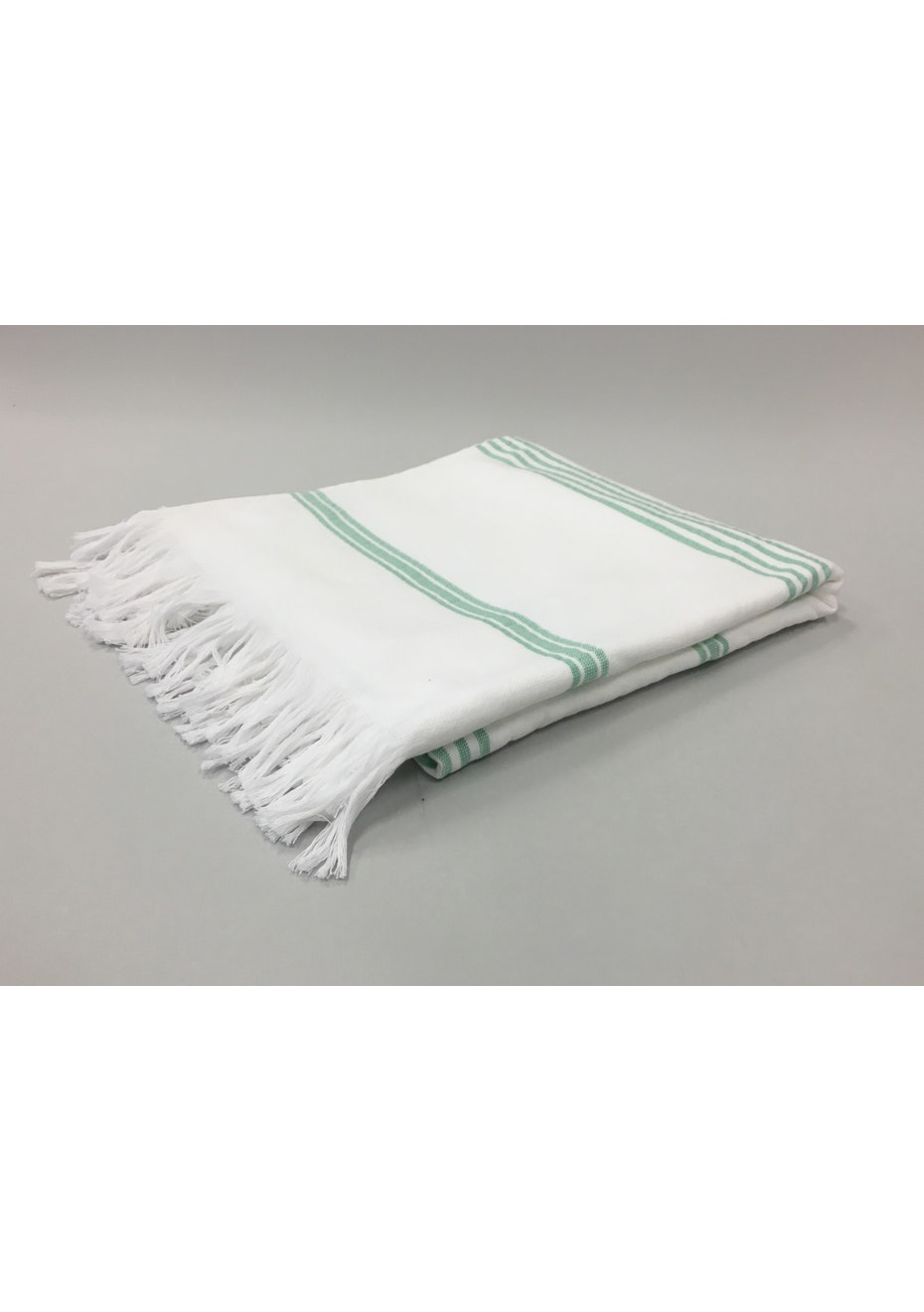 White with Turquoise Stripe Cotton Turkish Towel