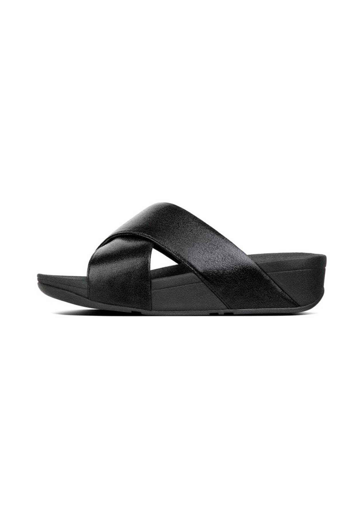 7be1a70aa97bf Fit Flop - Lulu Molten Metal Slides -Black - Fit Flop   More - Onceit