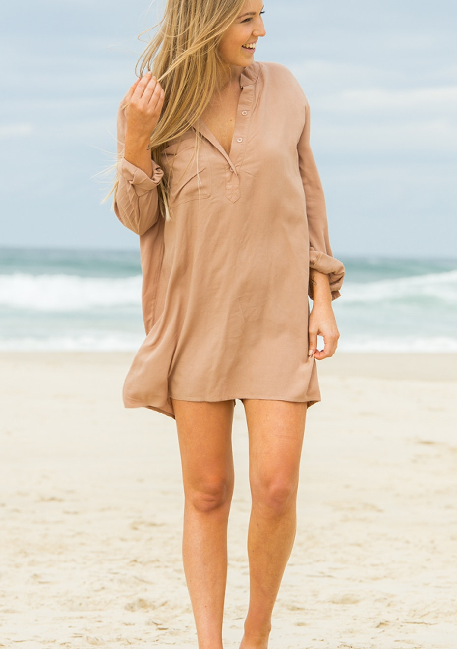 Gypsy Republic - Off Duty Shirt Dress - Dark beige