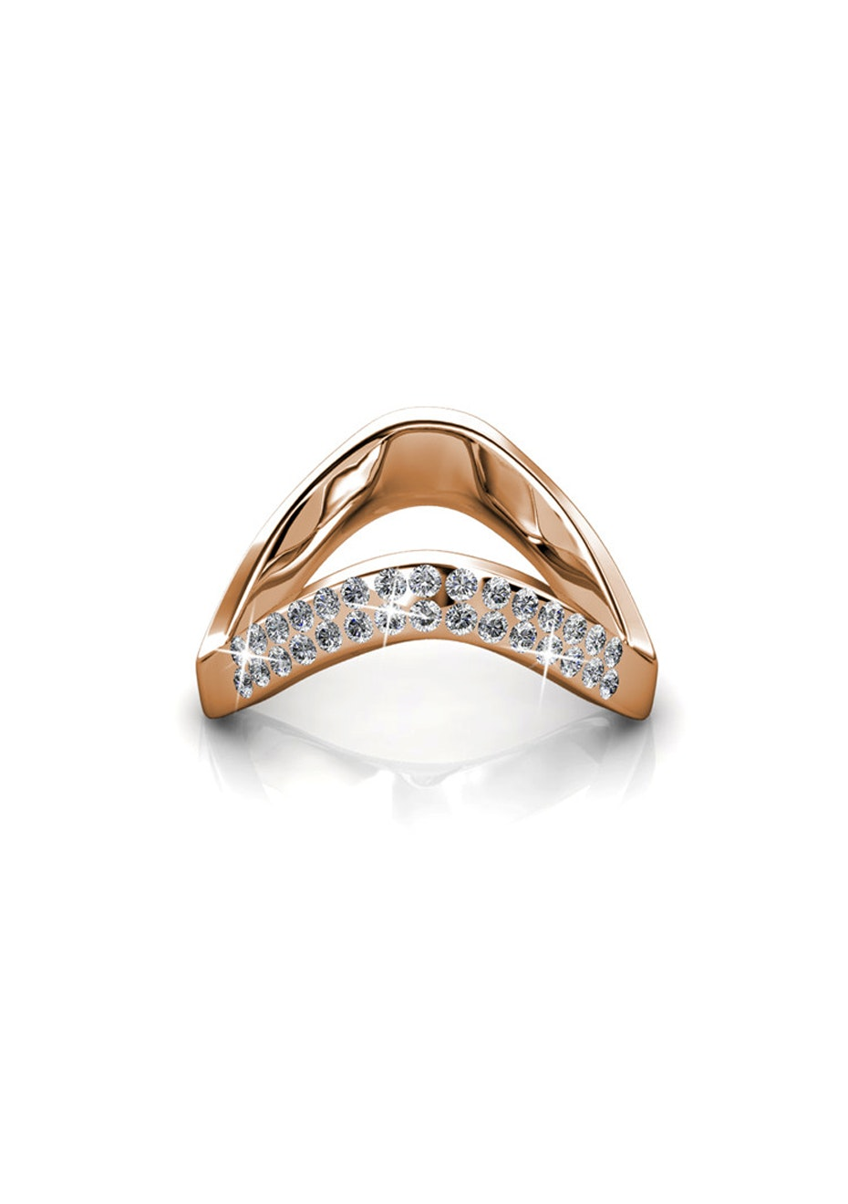 Bianca Rose Gold Ring Embellished with Crystals from Swarovski