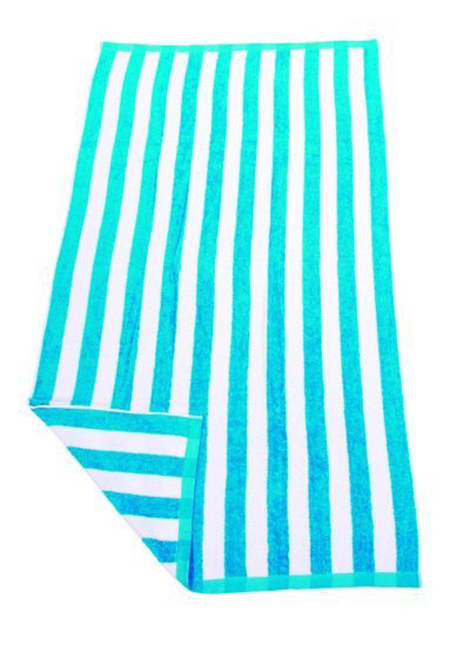 Hawaiian Stripe Beach Towel Aqua/White