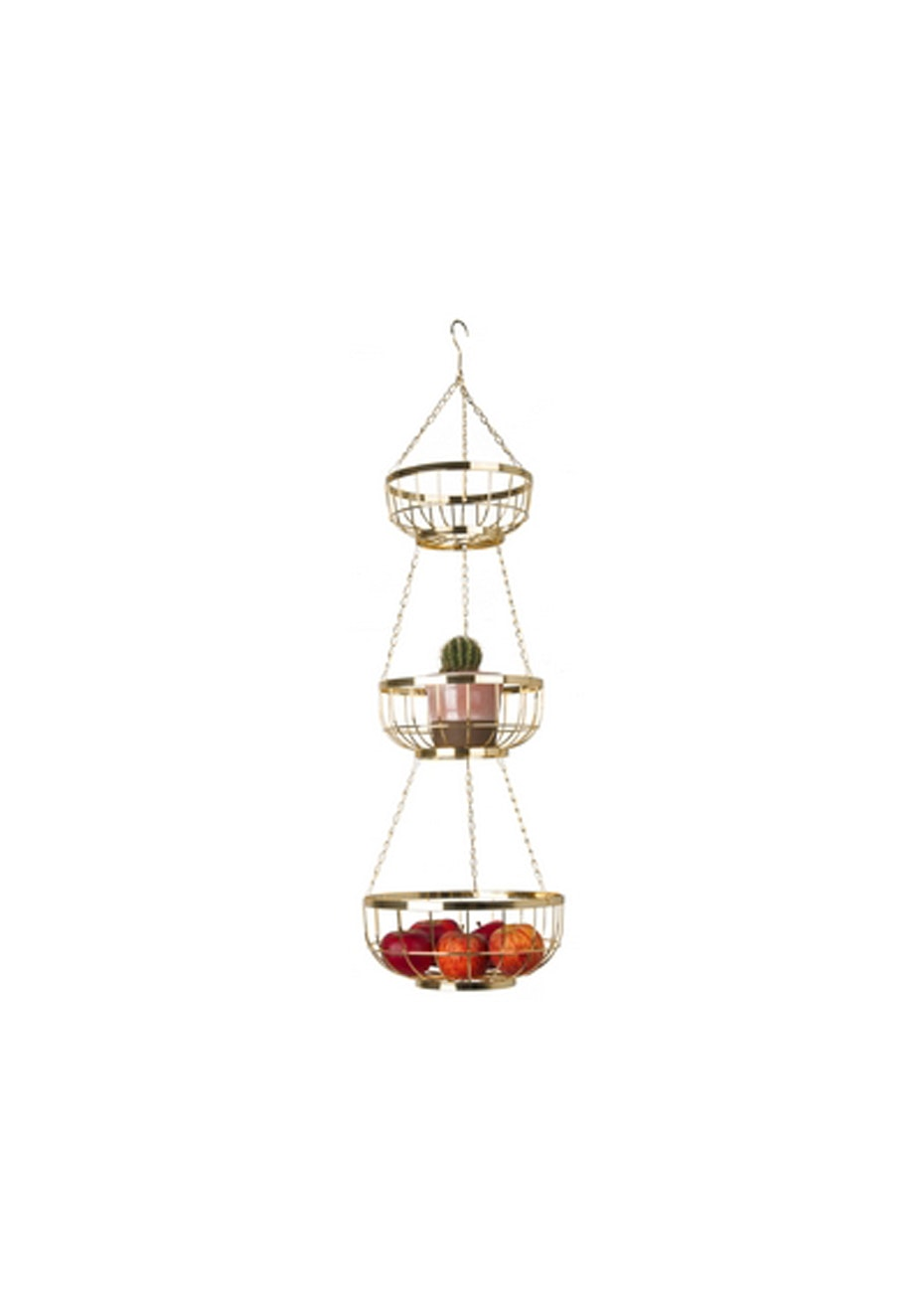 Pt Home - Set of 3 Hanging Baskets - Gold