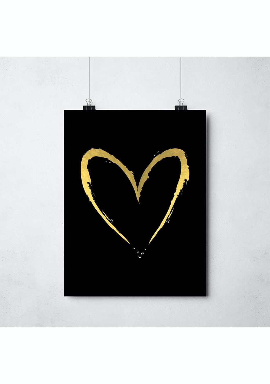 Simply Creative - Gold Heart - A3 Gold Foil Print