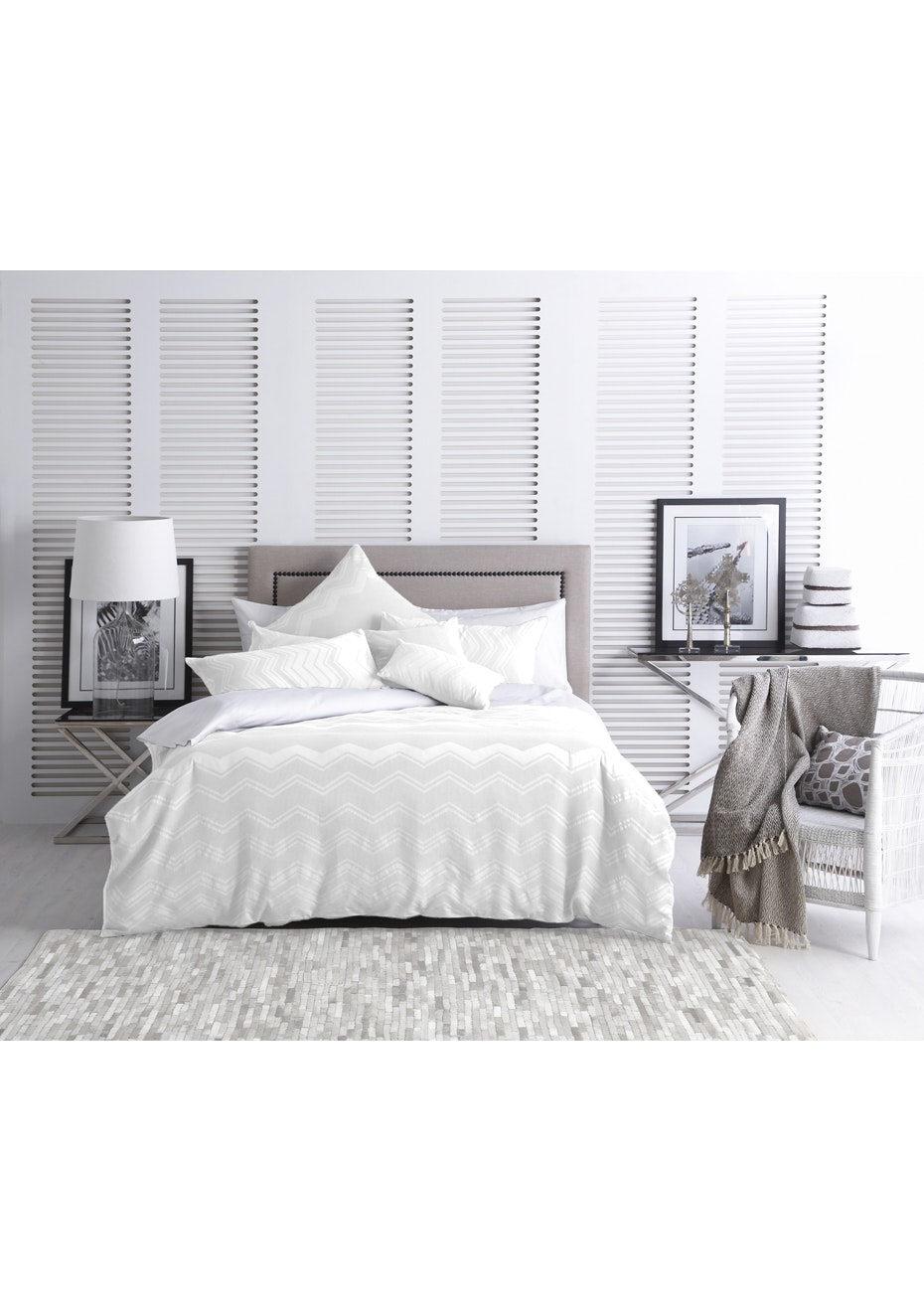 Conrad Quilt Cover Set   Queen Bed   White   Winter Thermal Sheets Pre Sale    Onceit