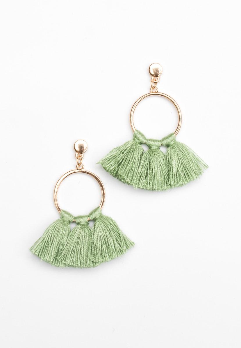 Hoop Tassel Earrings  - Gold/Green