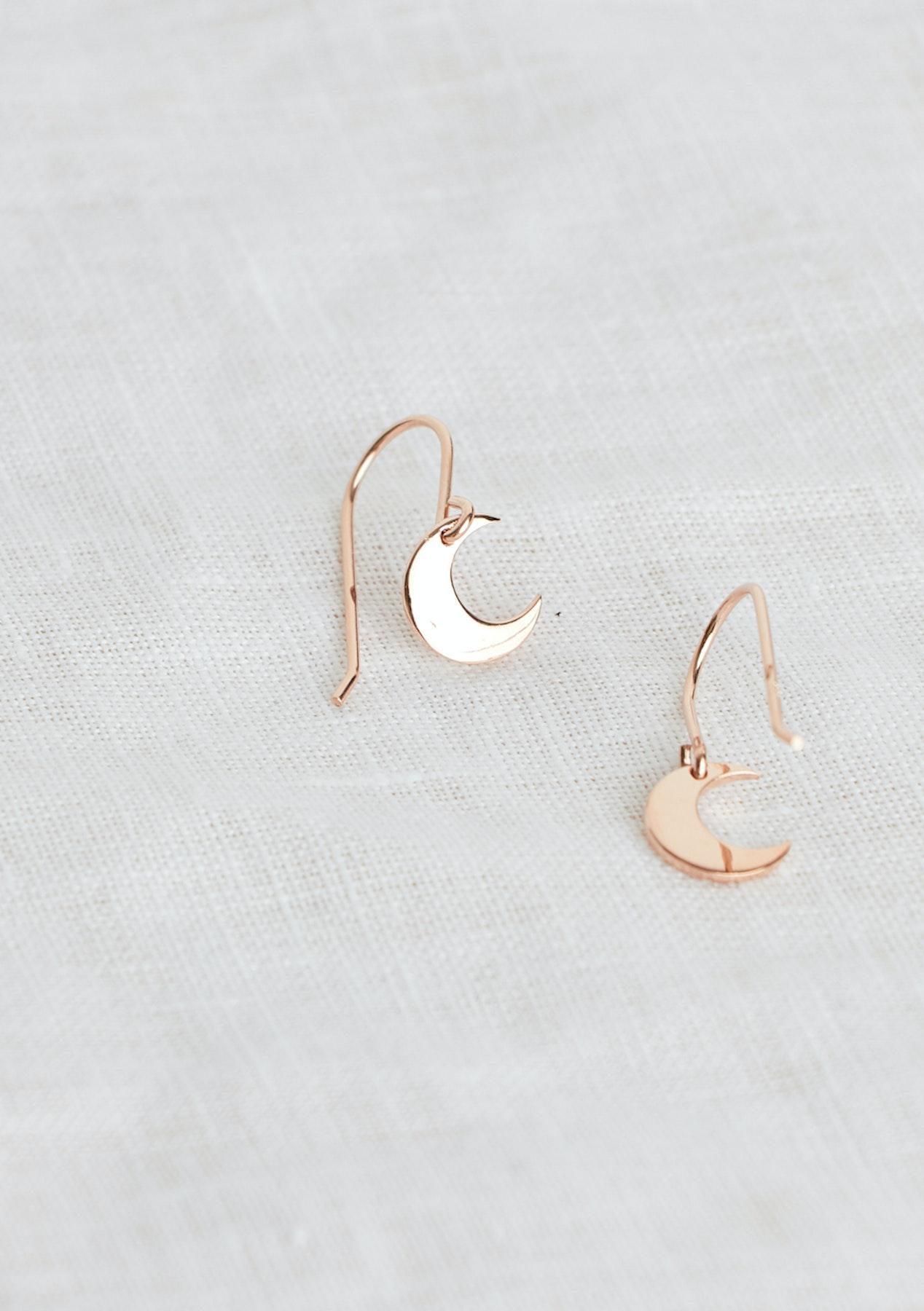 8e5339c3 Adornment - Moon Dangle Earrings - Rose Gold
