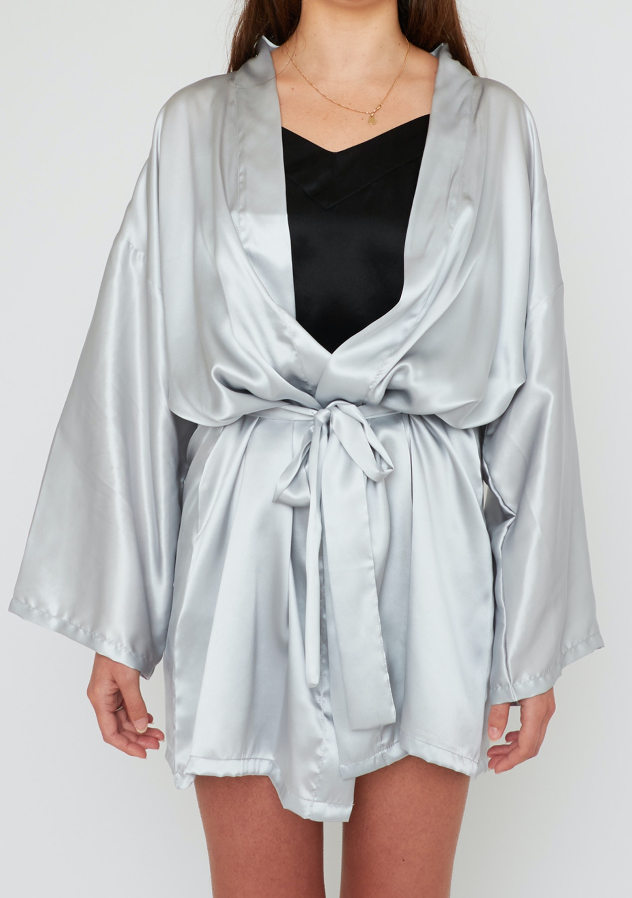separation shoes attractive style variety of designs and colors Slumber - 100% Silk Robe - Light Grey