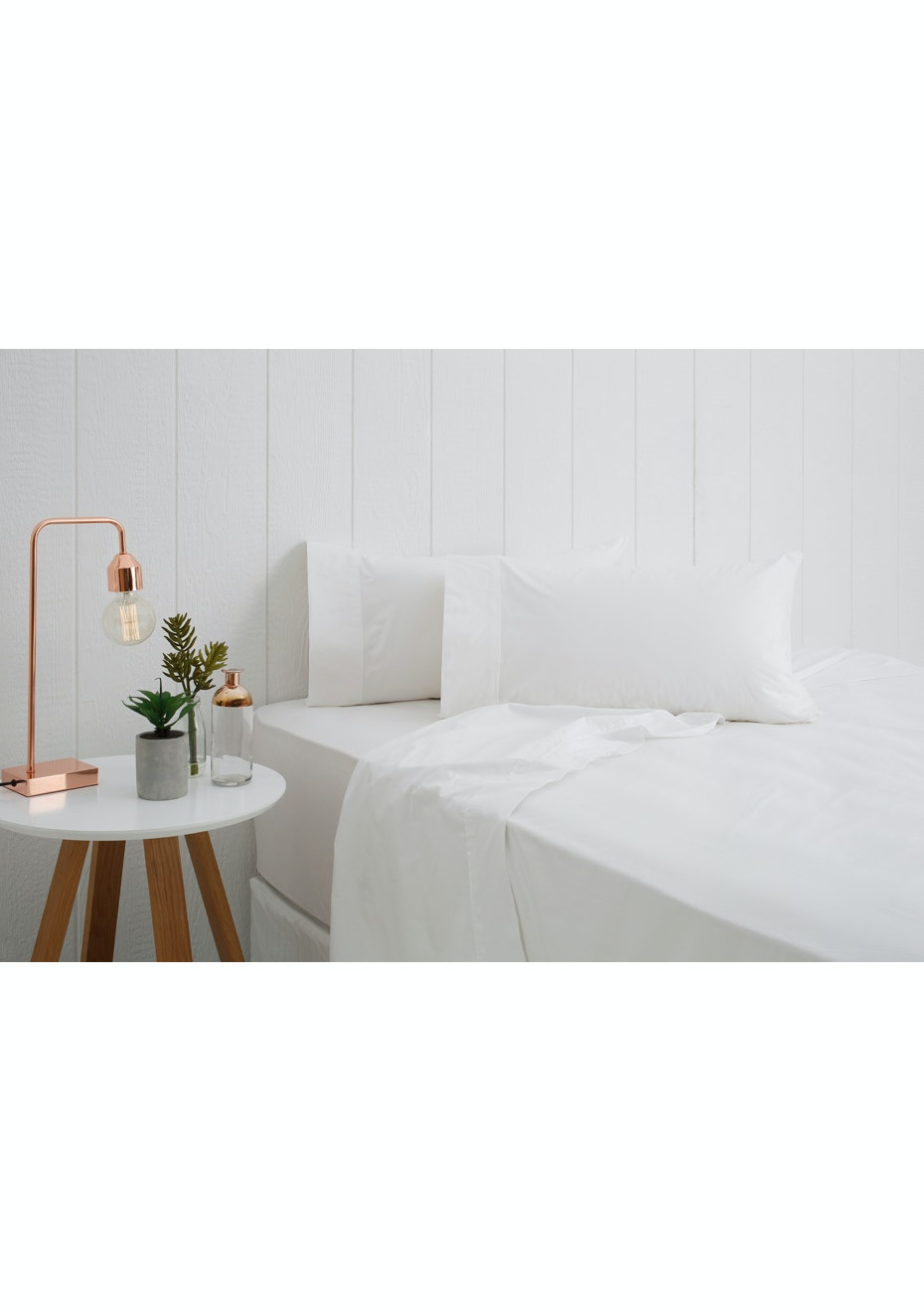 Breathe Cotton Percale Sheet Set - Single Bed - Snow
