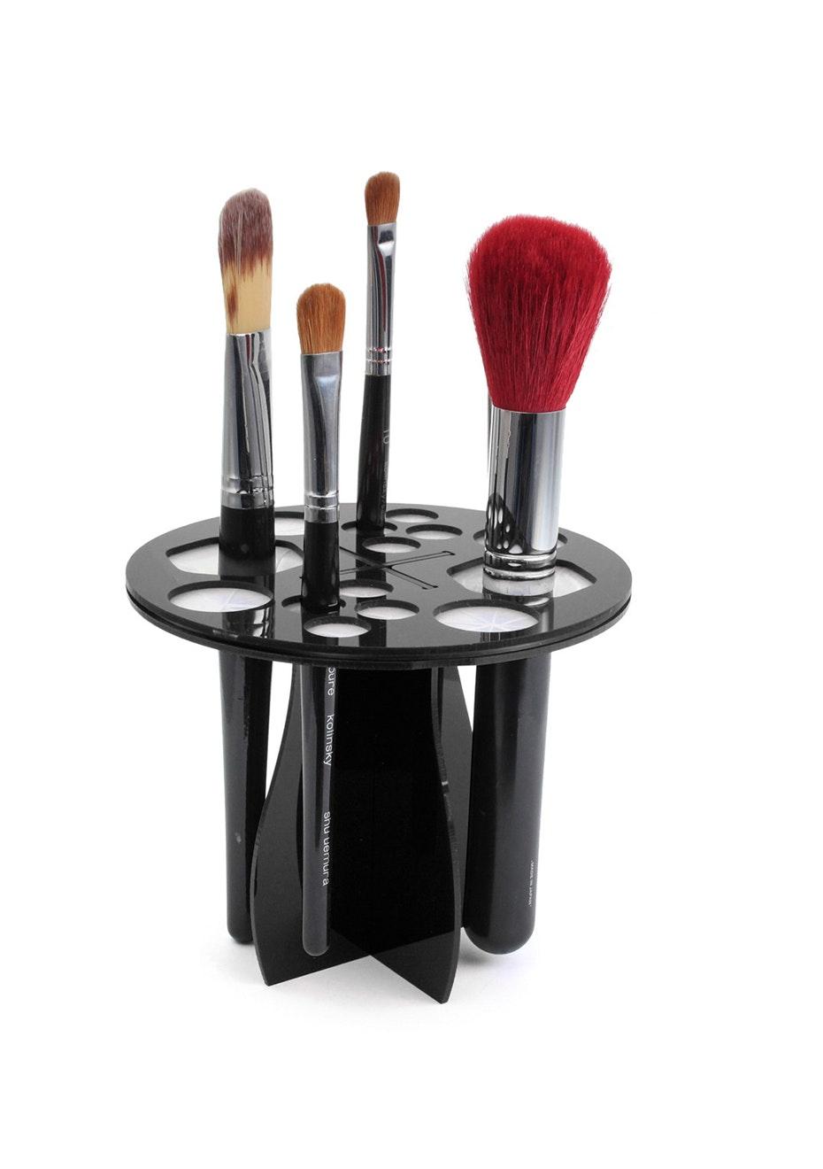 Makeup Brush Rack Storage Holder Stand & Dryer -Black