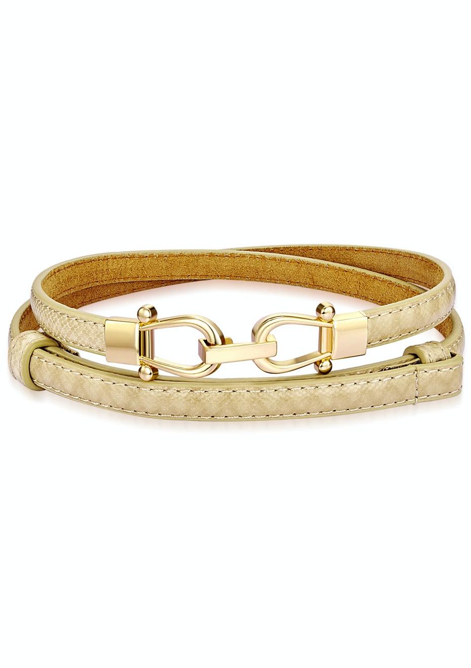 Genuine Cow Leather Skinny Waist Belt-Elizabeth creamy white