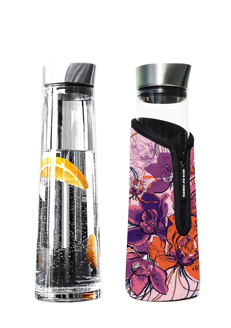 BBBYO - Glass is Greener Carafe 1000 ml + Snug Cover - Floral Print