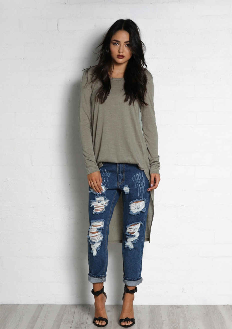 Madison - BREAKDOWN BOYFRIEND JEANS - DARK DENIM
