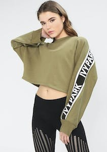 98f66403345 Ivy Park - Logo Tape Cropped Crew Sweat - Moss