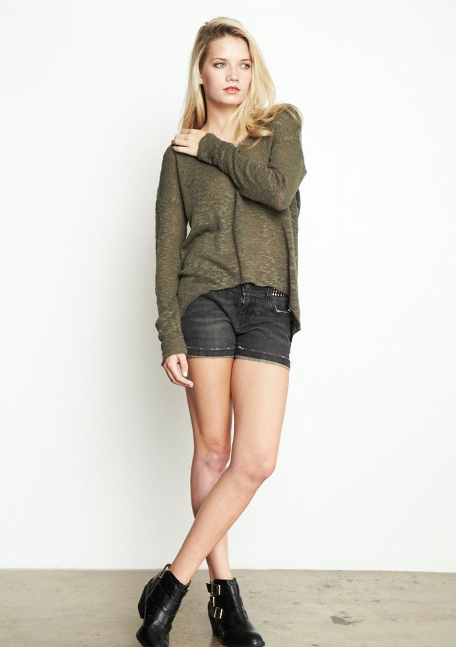Achro - Semi-Sheer V-Neck Sweater - Olive