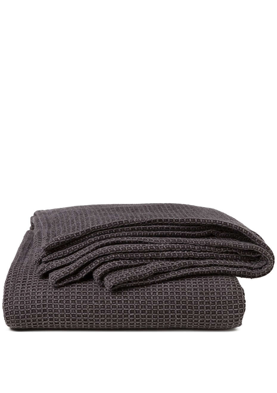 Sogno Linen Blend  Blanket Charcoal
