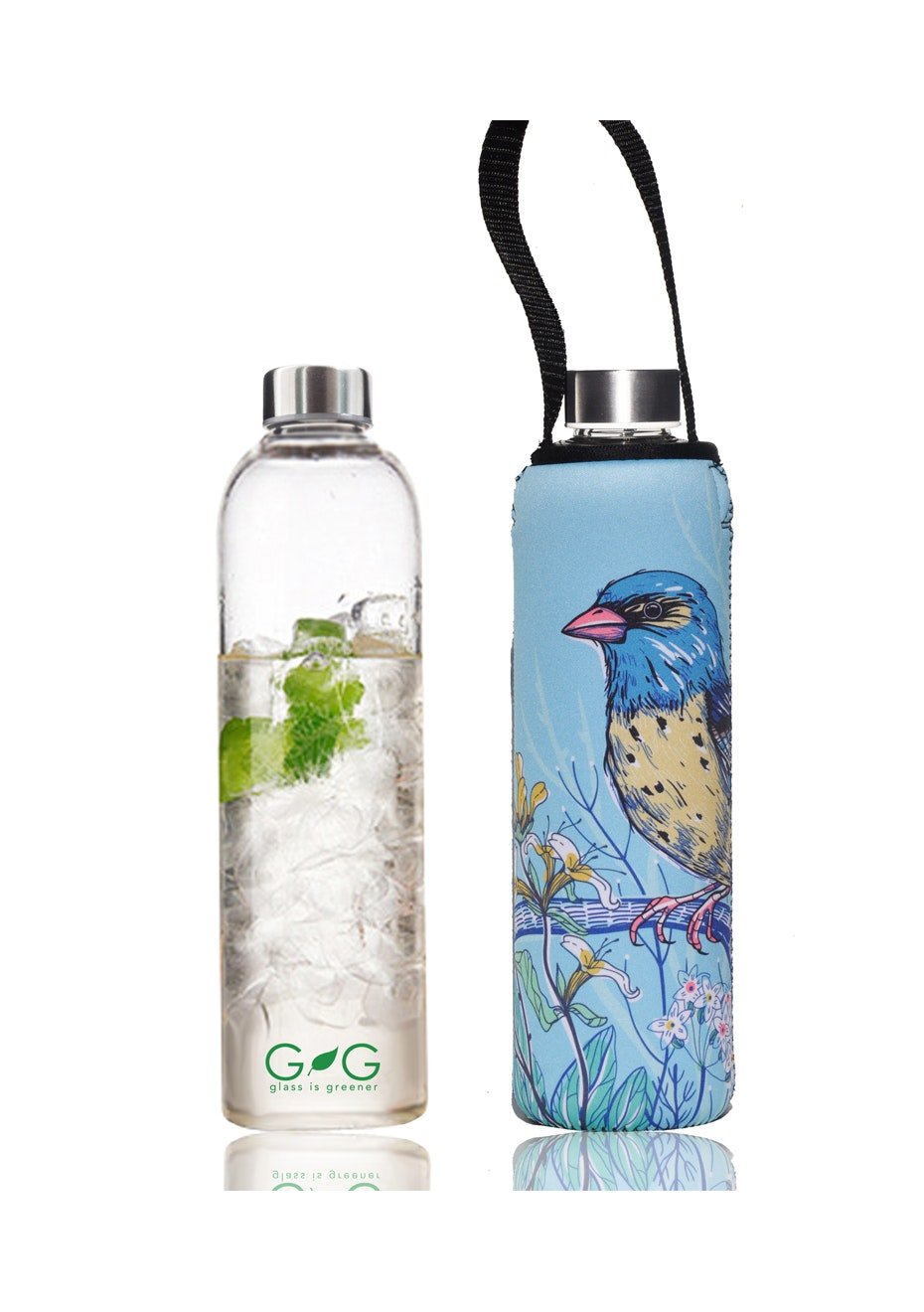 BBBYO - Glass Is Greener Bottle 750 ml + Carry Cover (Kook Print) -750 ml