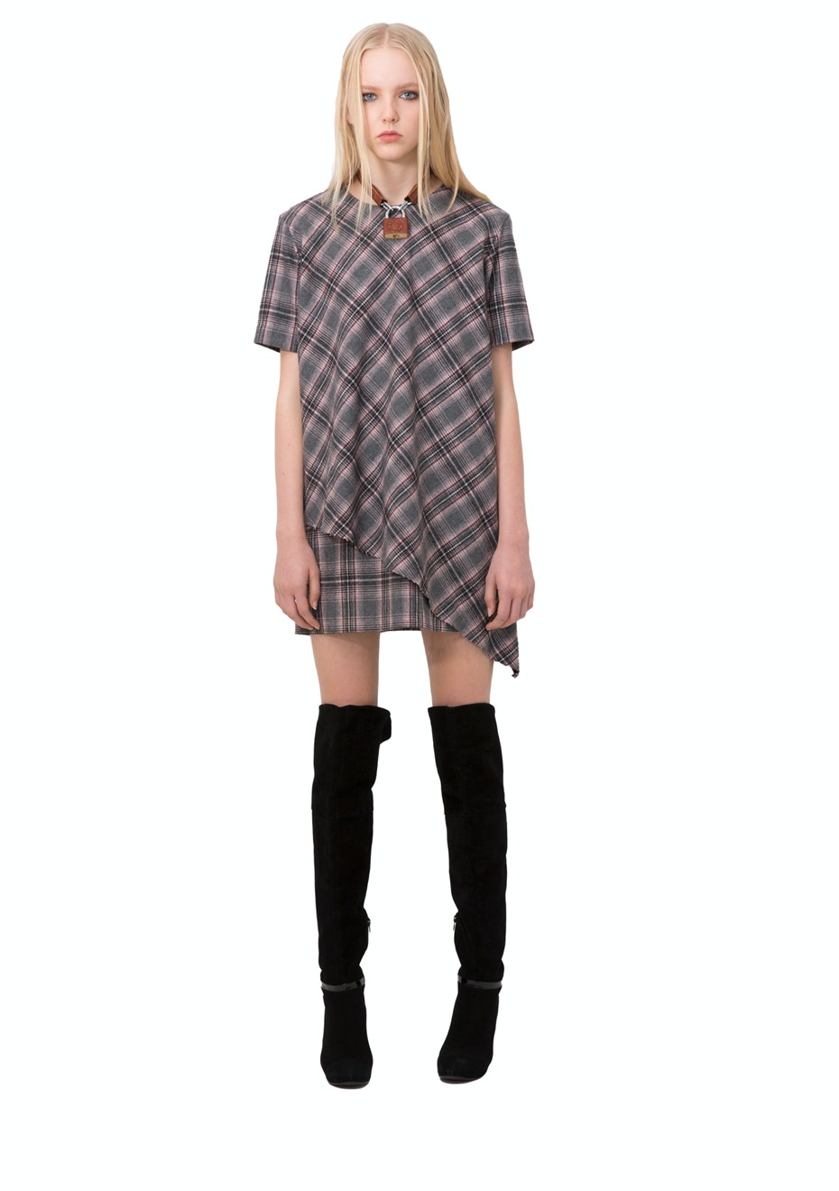 Stolen Girlfriends Club - Courtney Shift Dress - Grey Plaid