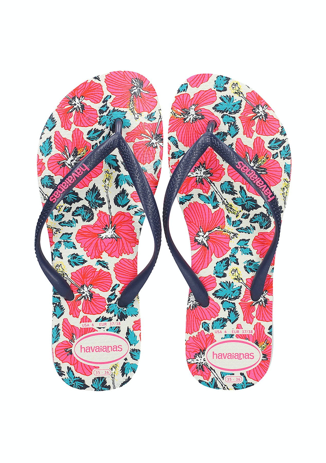 f66f422f2 Havaianas - Slim Floral 0052 White Navy Blue - The Big Rummage Rack from   10 - Onceit