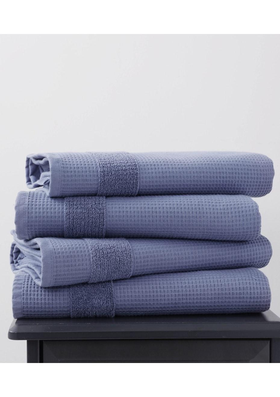 2 Pack Azurite 600gsm Waffle Bath Towel