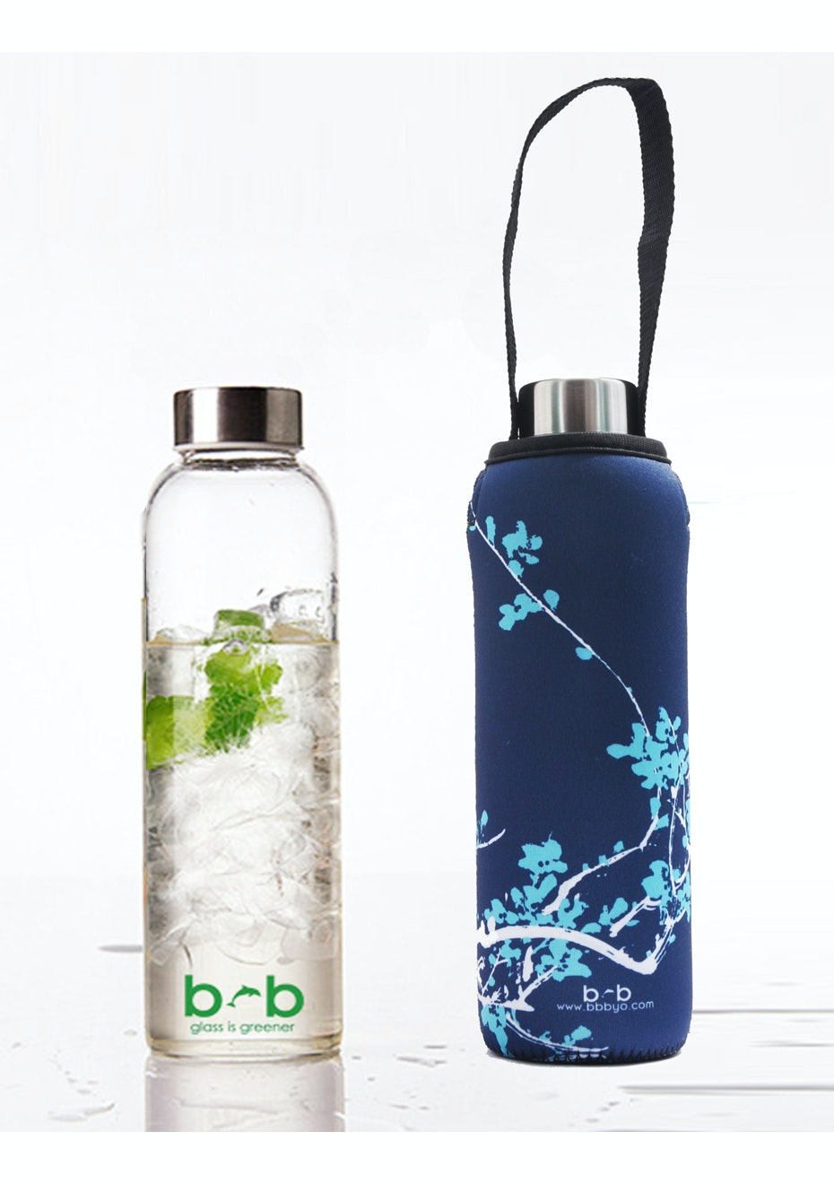 BBBYO - Glass Is Greener Bottle 570 ml + Carry Cover (Blossom Print) - 570 ml