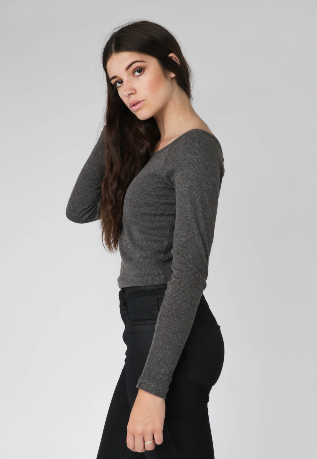 All About Eve - Mindy V-Neck Crop - Mid Grey Marle