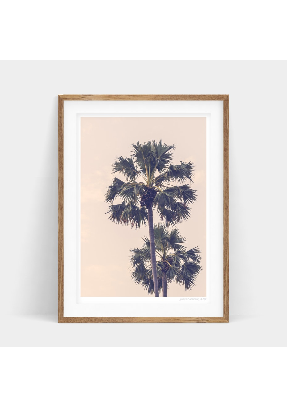 Simply Creative - Peach Palms - A3 Monochrome Print