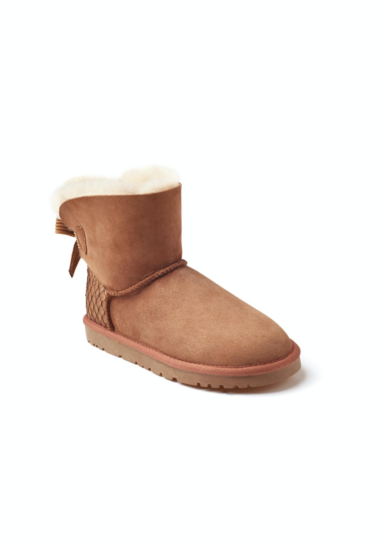 cd80926b85bee Ozwear - Ugg Ugg One Bailey Bow Corduroy Boots (Scale-Embossed Heel Pop)  (Water Resistant) - Chestnut - Half Price Ozwear Uggs - Onceit