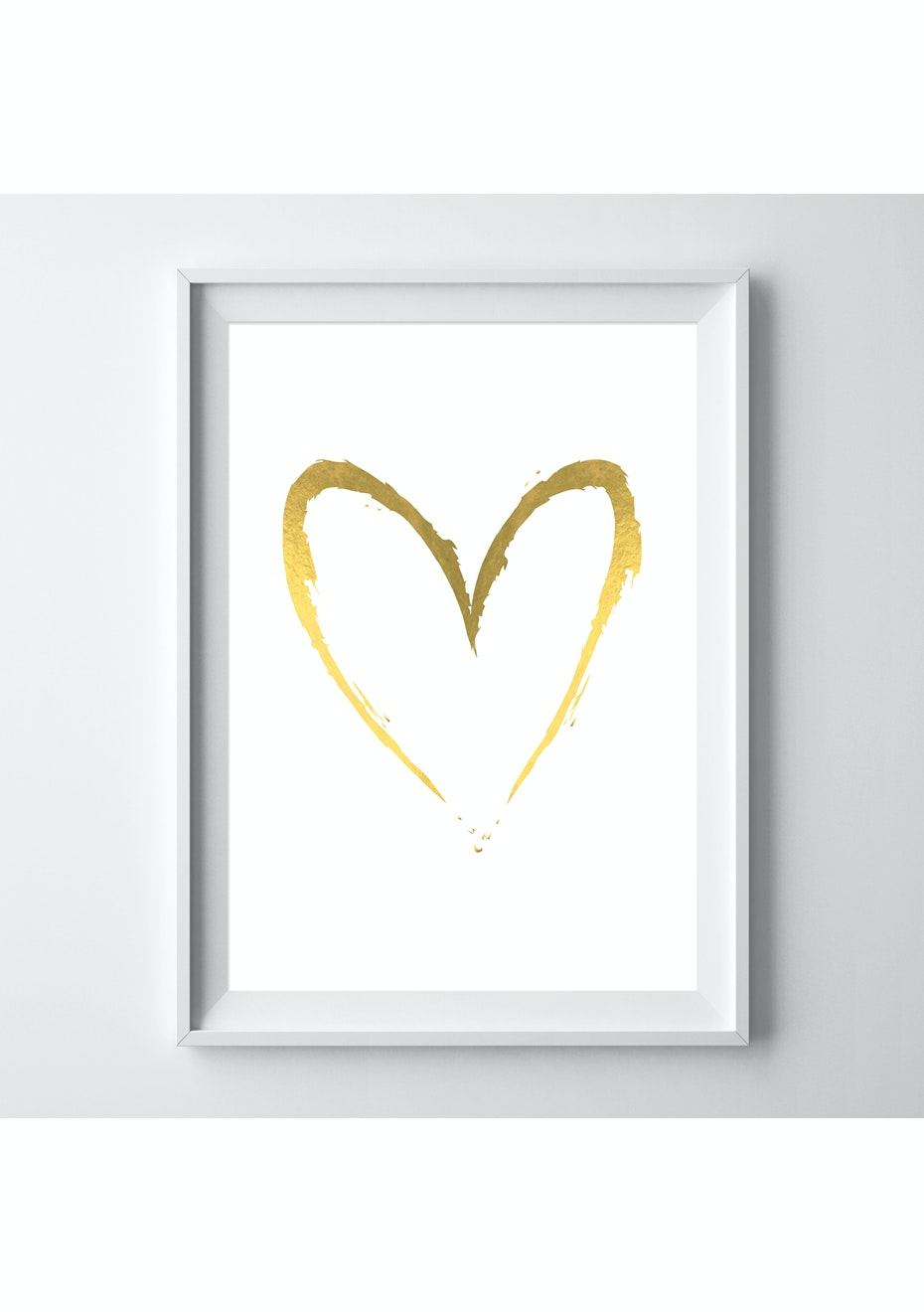 Simply Creative - White Heart - A4 Gold Foil Print
