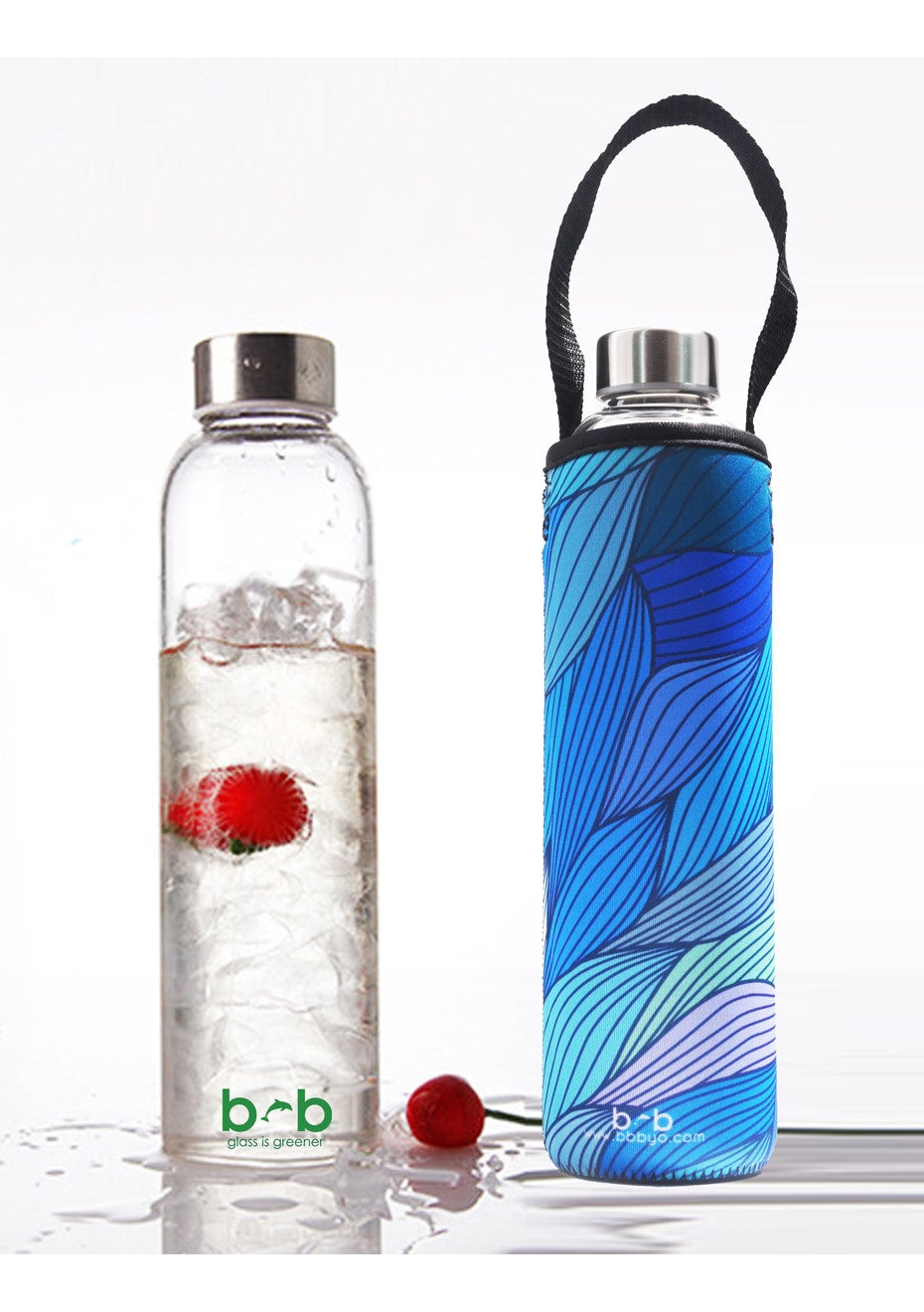 BBBYO - Glass Is Greener Bottle 750 ml + Carry Cover (Tide Print) -750 ml