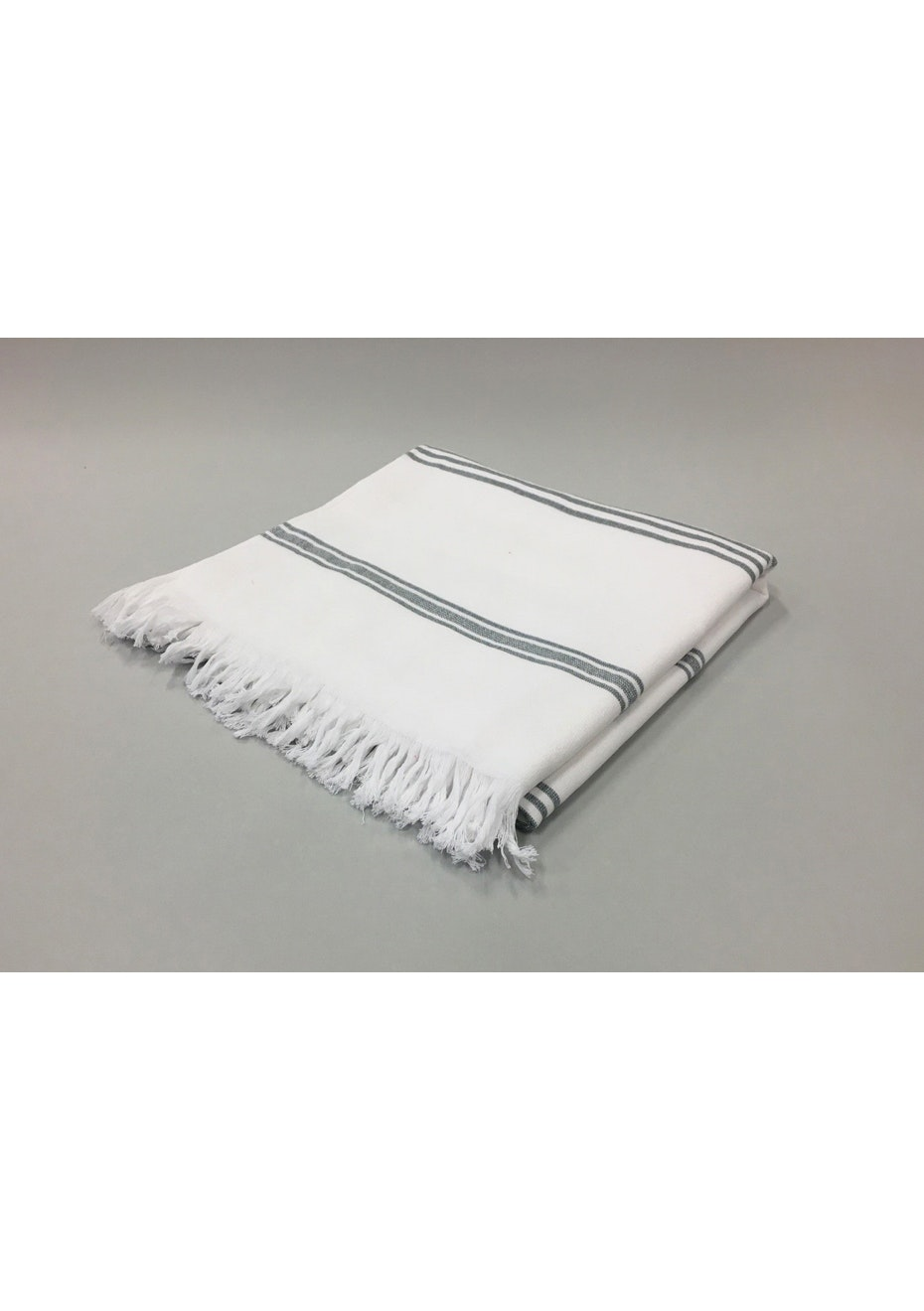 2 Pack White with Grey Stripe Cotton Turkish Towel