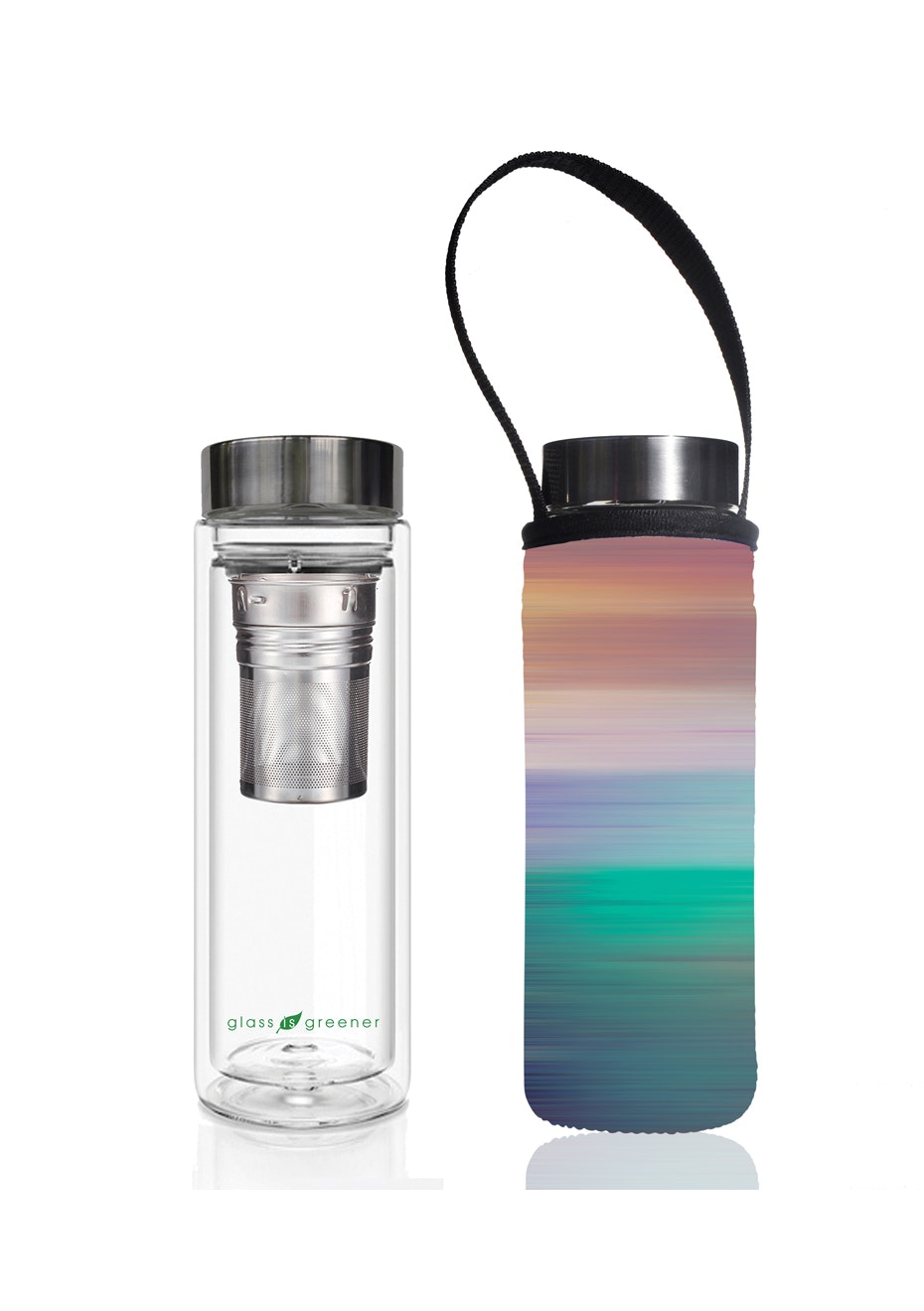 BBBYO - Glass Is Greener double-wall tea flask 500 ml + Carry Pouch (Peace Print) -500 ml