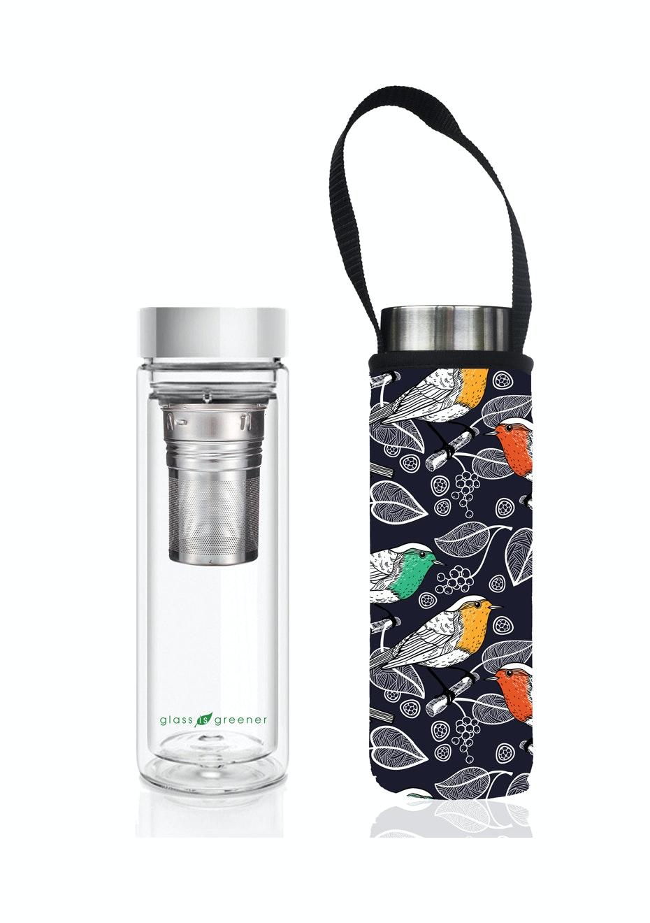 BBBYO - Glass Is Greener double-wall tea flask 500 ml + Carry Pouch (Chirp Print) -500 ml