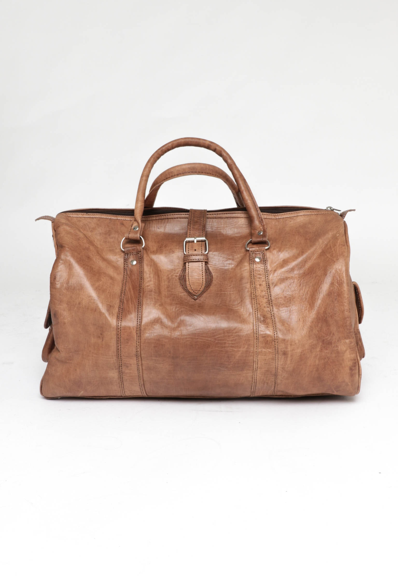 Handcrafted Genuine Leather Weekend Bag - Natural Tan